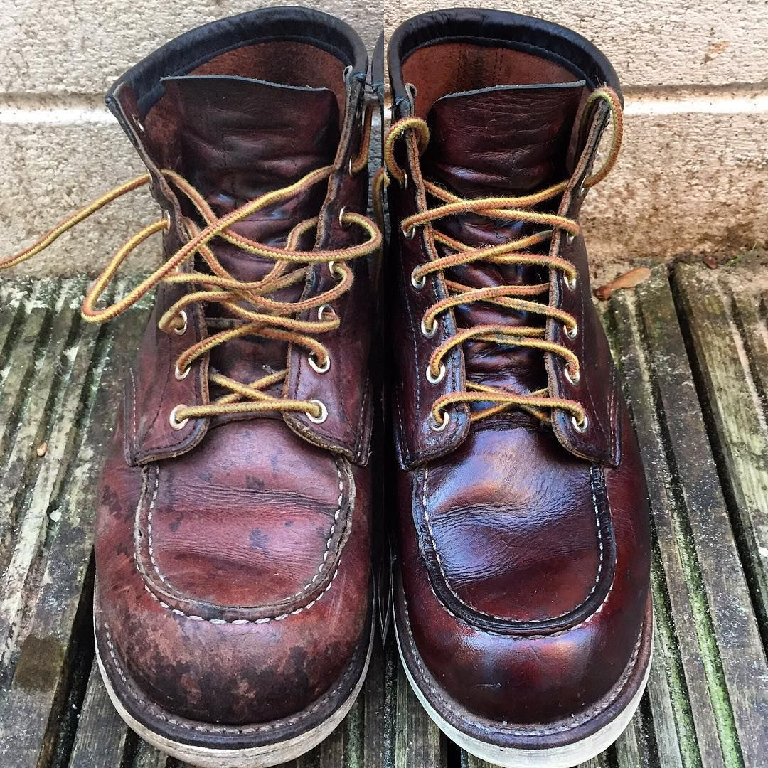 Boots Before the Mink Oil and after the Mink Oil menswear shoes fashion Red  Wing Heritage c48b41e1928ef