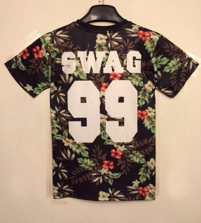 Black Short Sleeve Floral 99 Print T-shirt US$20.18