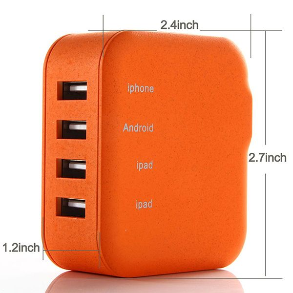 Lumsing   Lumsing 21W 4-Port 5V 4.2A USB Wall Charger Travel Power Adapter (Orange)