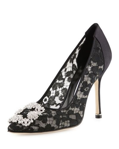 91a851d5a79b Manolo Blahnik Hangisi Satin Lace 105mm Pump