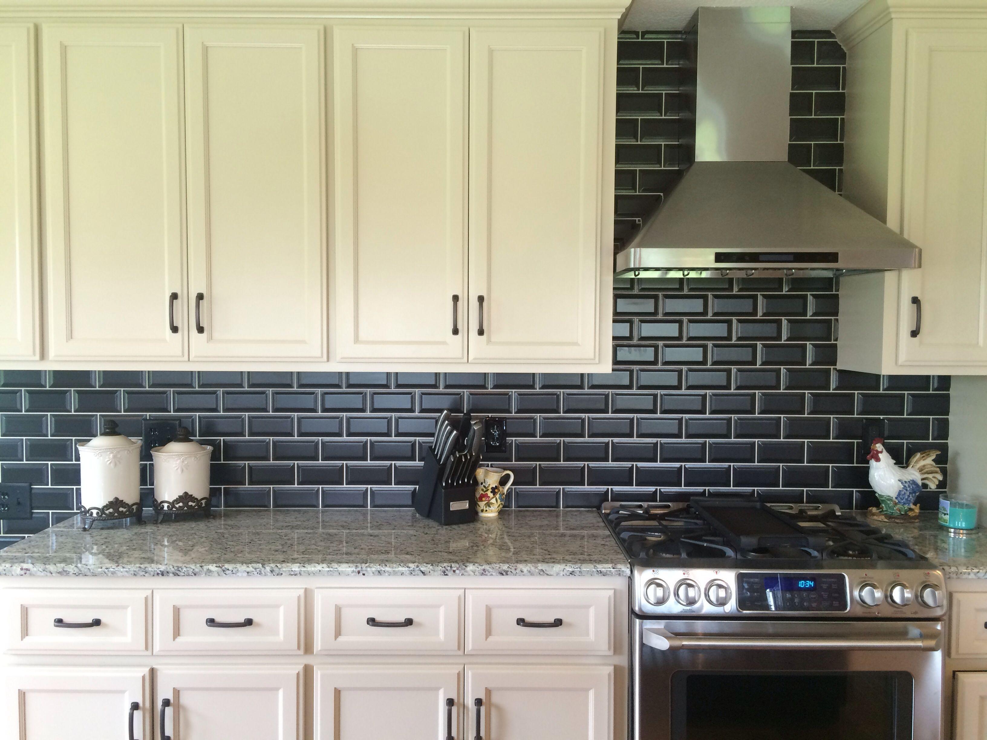 Backsplash Using Matte Black Beveled 3x6 Tile Home Projects Kitchen Cabinets Kitchen