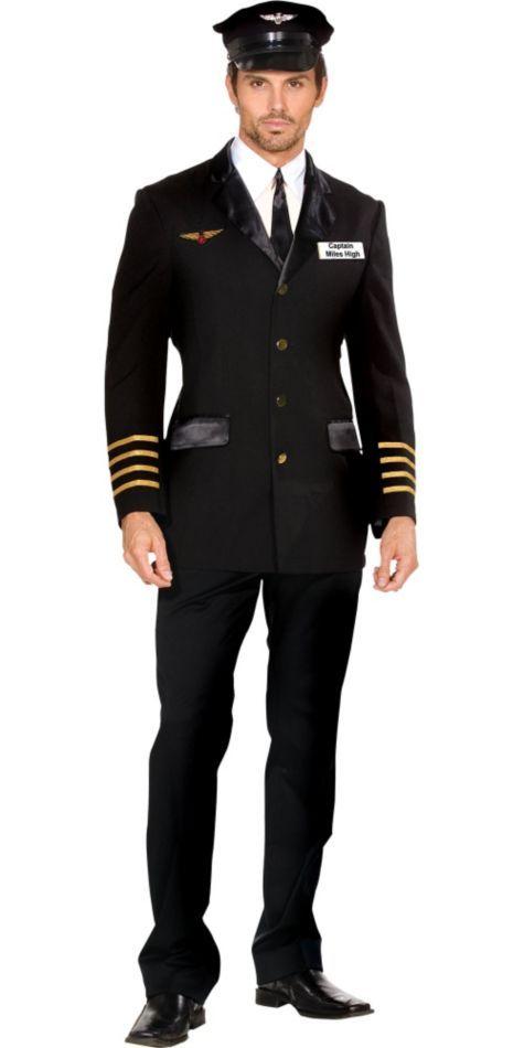 Mile High Pilot Hugh Jorgan Costume For Men Party City Captain Costume Pilot Costume Mens Costumes