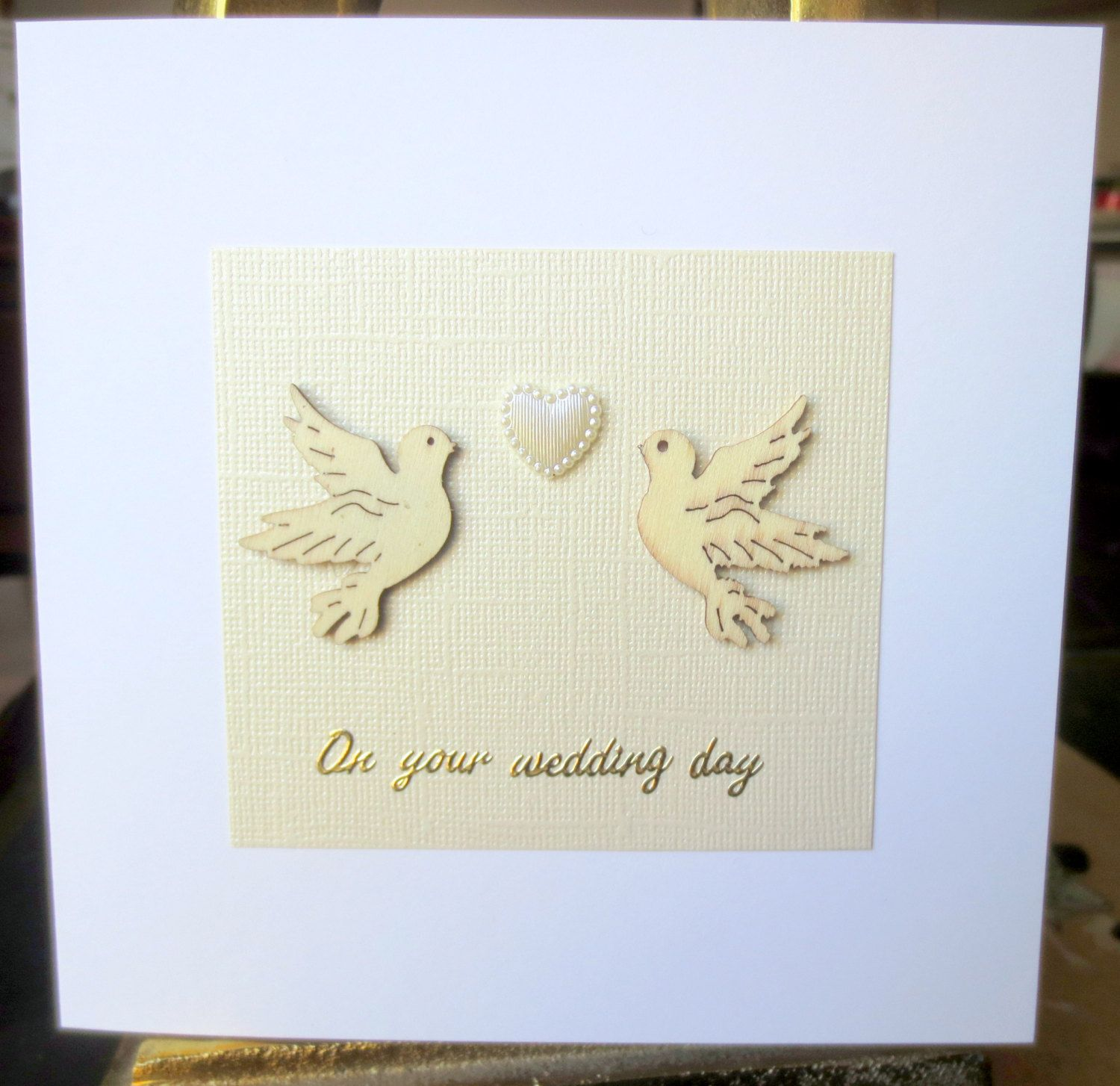 Wedding card love and marriage marriage card congratulations wedding card two wooden lovebirds handmade wedding card on your wedding day engagement kristyandbryce Choice Image