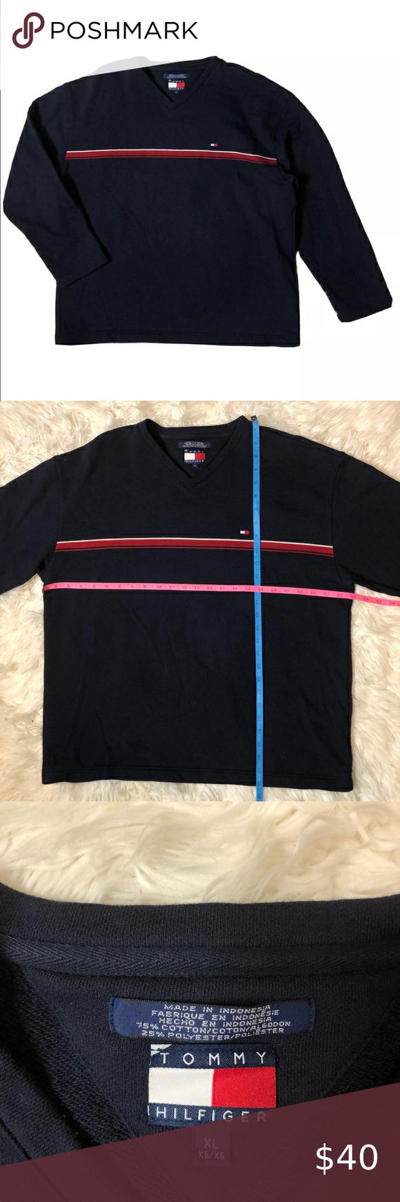 Vintage 90s Tommy Hilfiger Sweatshirt V Neck Tommy Hilfiger Pullover Streetwear Tommy Jeans Jumper Embroidery Logo Black Size Large