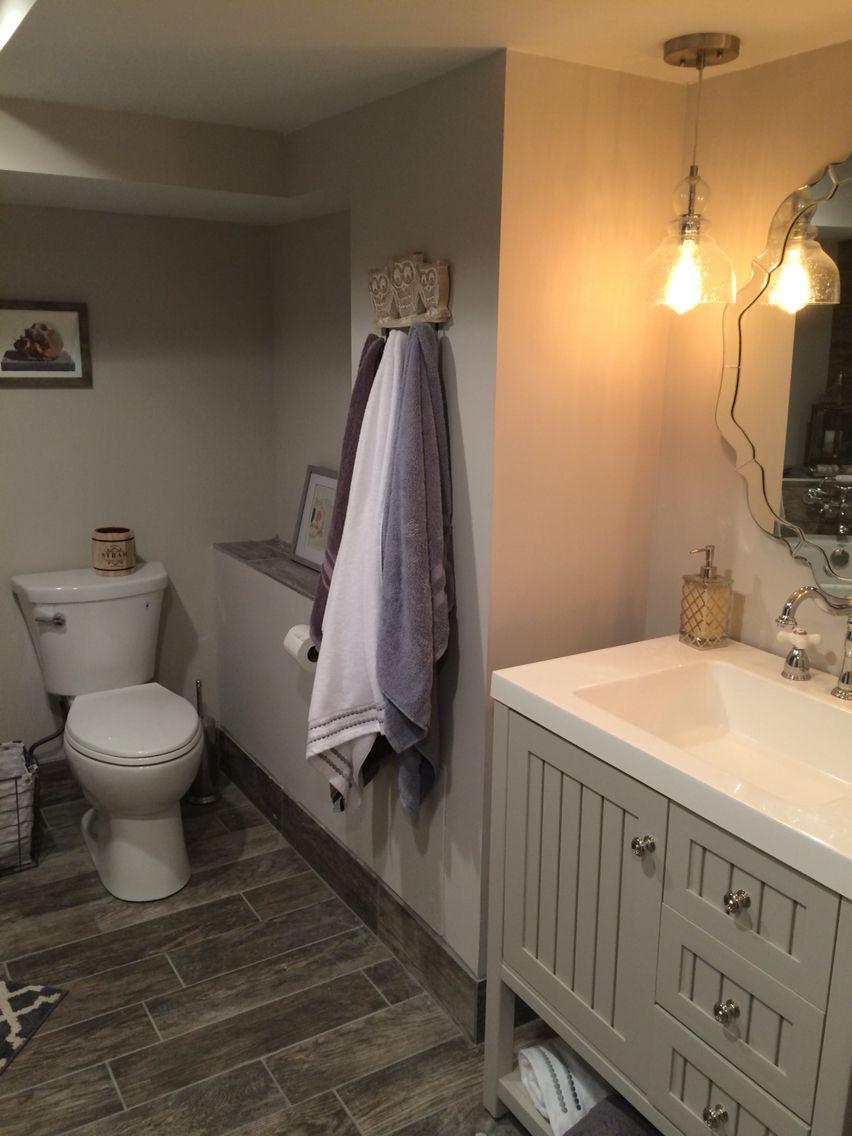 basement bathroom gray porcelain wood tile  bathroom