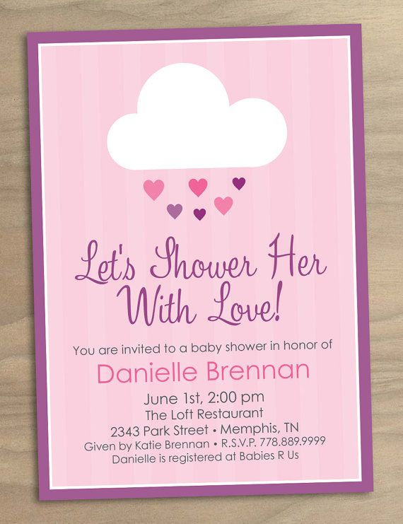 Printable shower her with love pink rain cloud invitation 15 baby shower or bridal shower invitation baby girl shower her with love pink rain cloud digital printable file click photo filmwisefo Choice Image