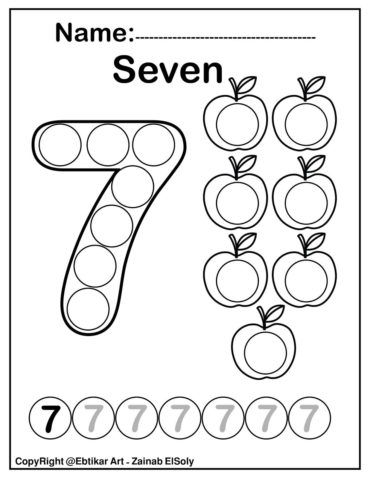 Set Of 123 Numbers Count Apples Dot Marker Activity Coloring