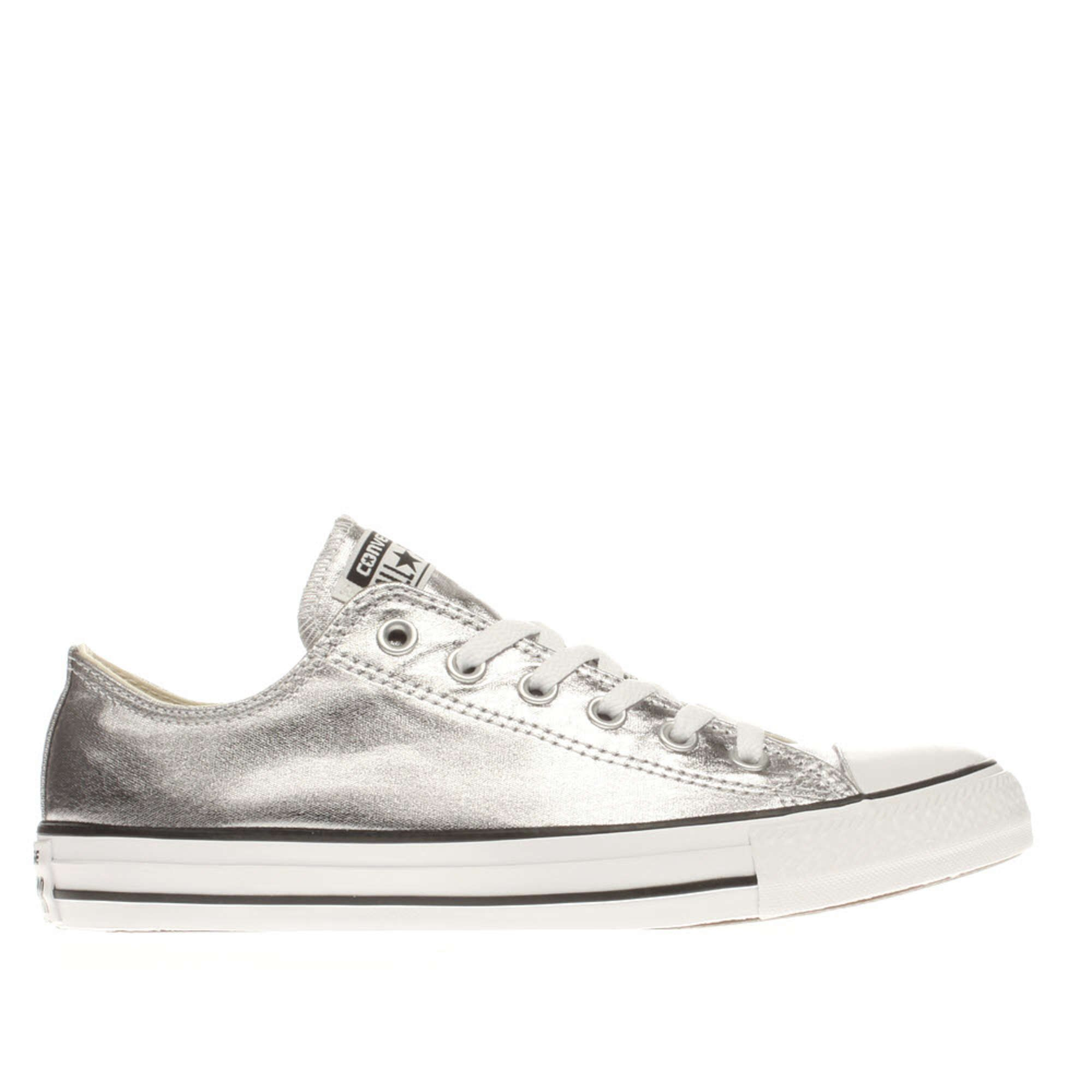 Womens Silver Converse All Star Metallic Canvas Ox Trainers | schuh