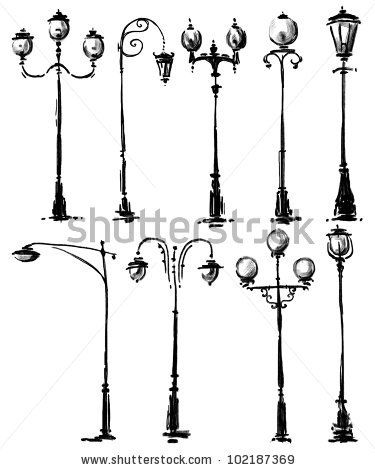 Lamp Post Collection Stock Photo Lamp Post Drawings Art