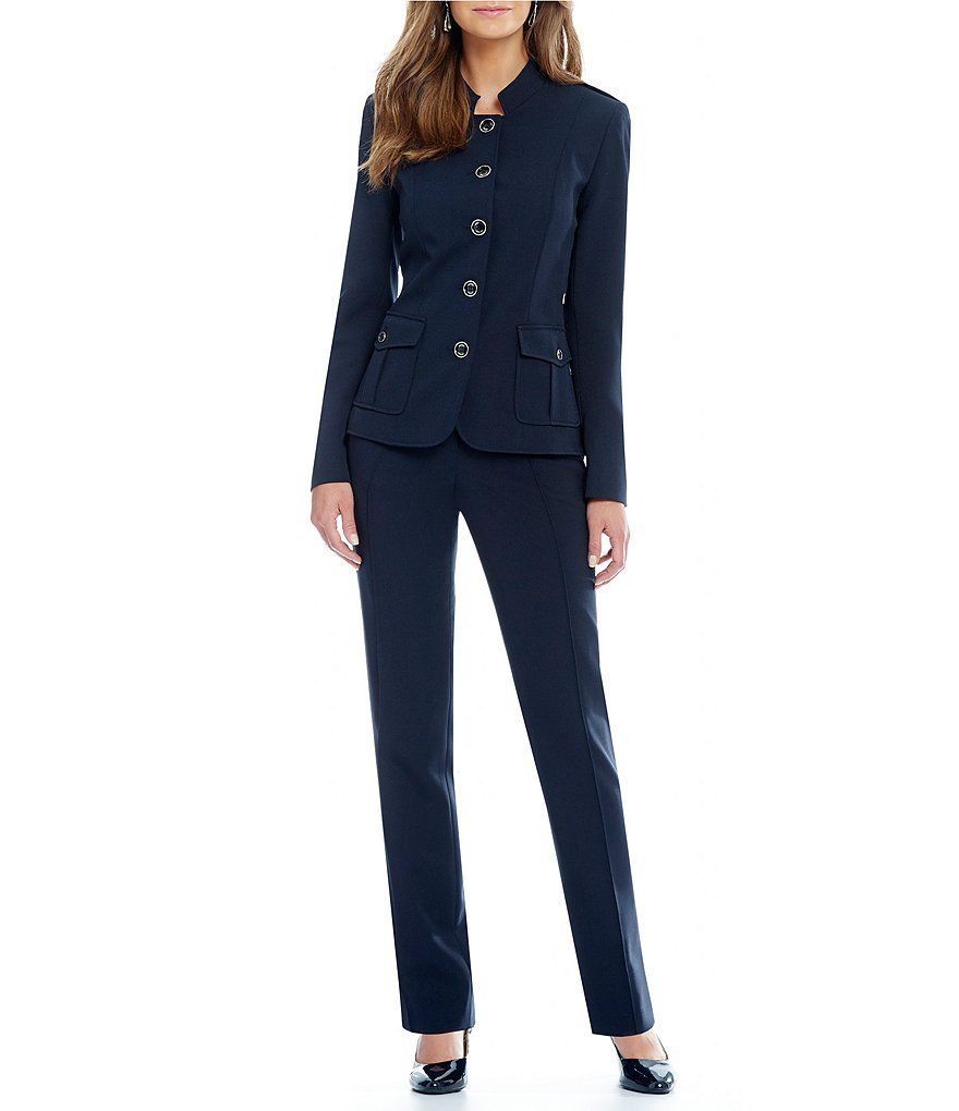 7128a8cb281 JM Studio by John Meyer Button-Front 2-Piece Pant Suit
