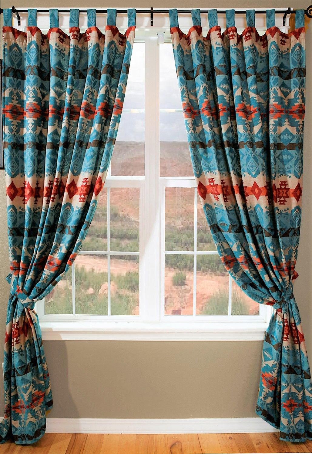 The Turquoise Trails Southwest Tab Top Curtains Features A Vibrant Pallet In Shades Of