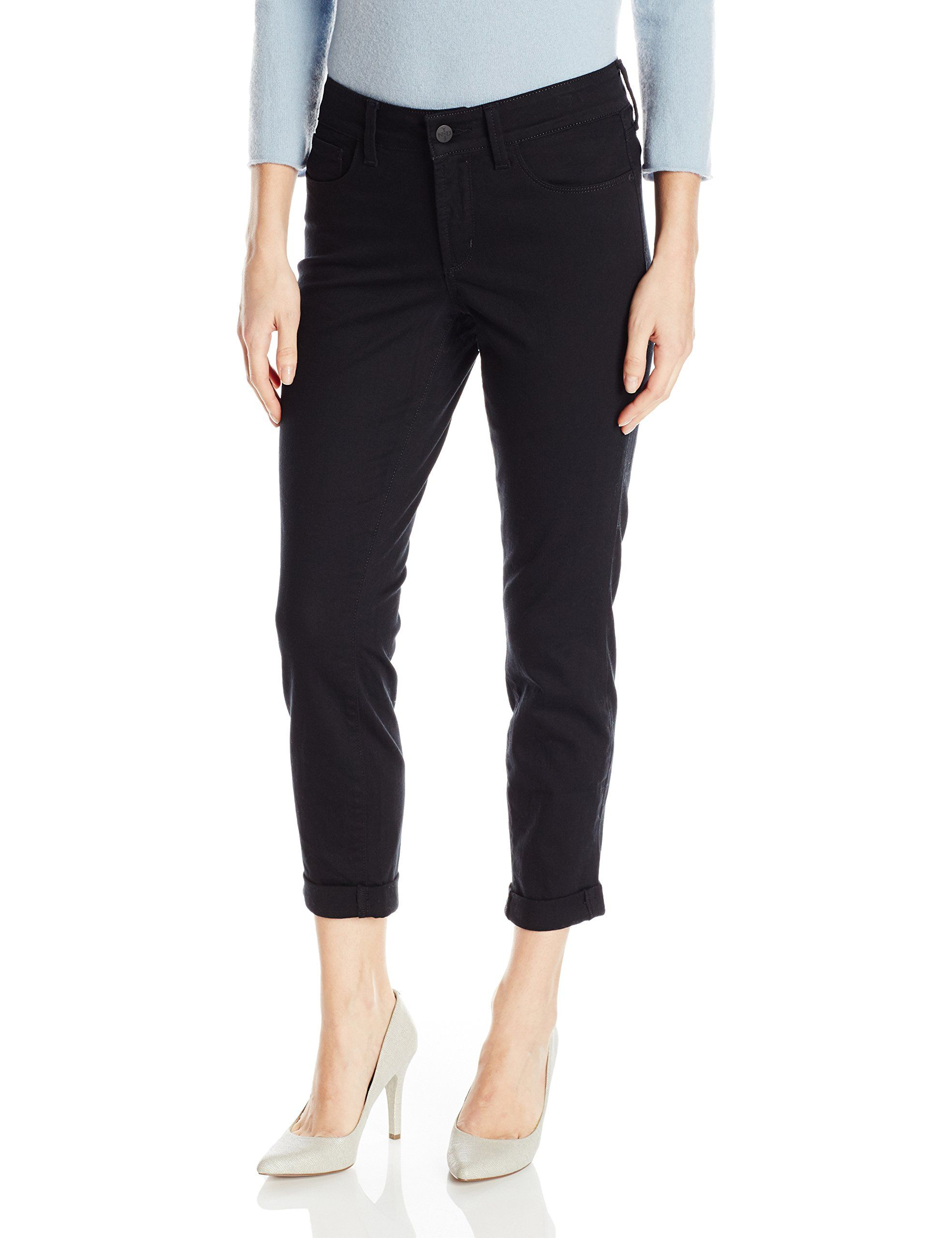 NYDJ Womens Petite Size Alina Skinny Convertible Ankle Jeans Black 12 **  Click image to