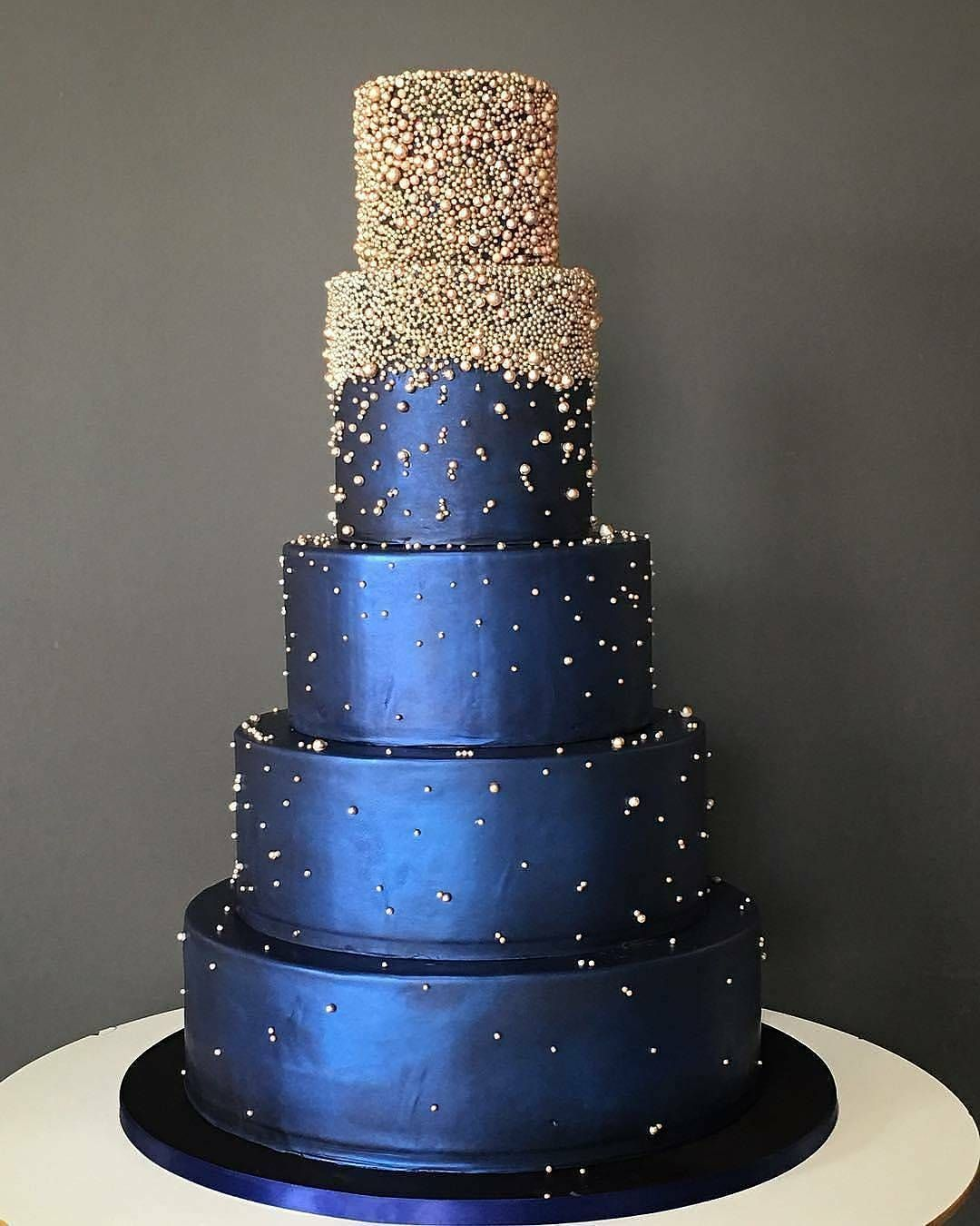 Wedding Cake Ideas Royal Blue: The Chic Technique: Silver And Navy Blue Wedding Cake