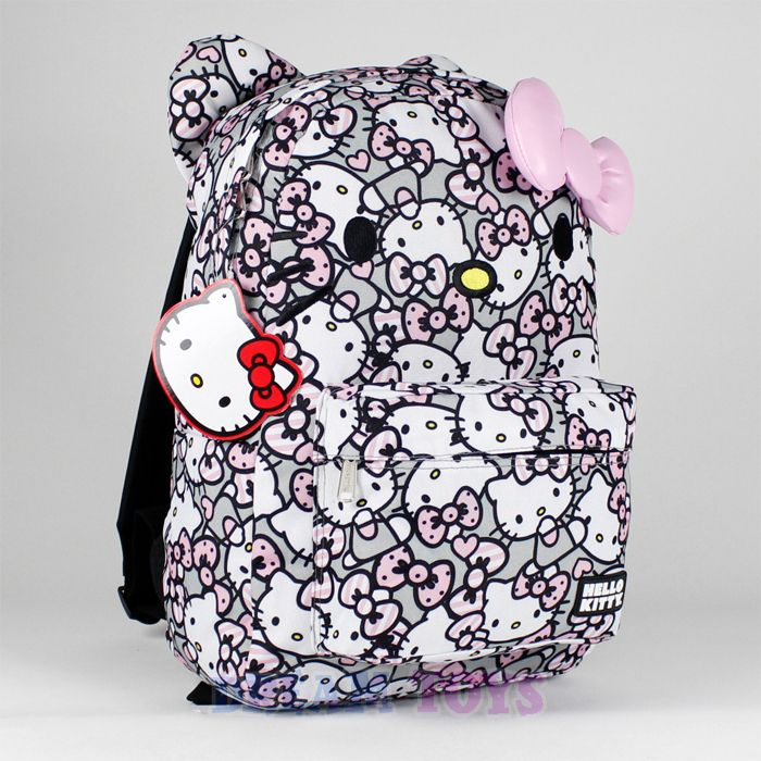 sanrio hello gray backpack pink bow 16 quot large