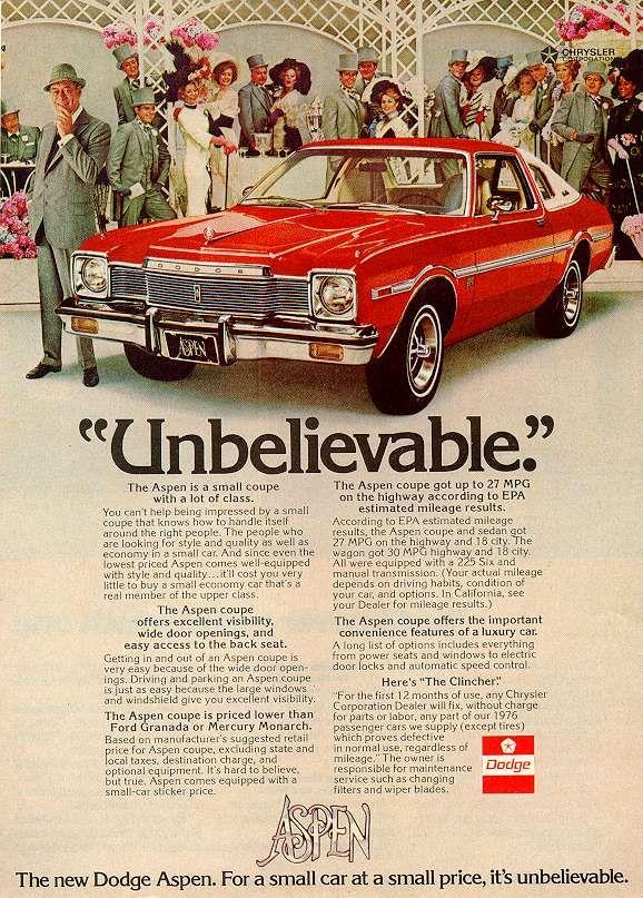 Directory Index Dodge 1976 Dodge Dodge Aspen Dodge Automobile Advertising