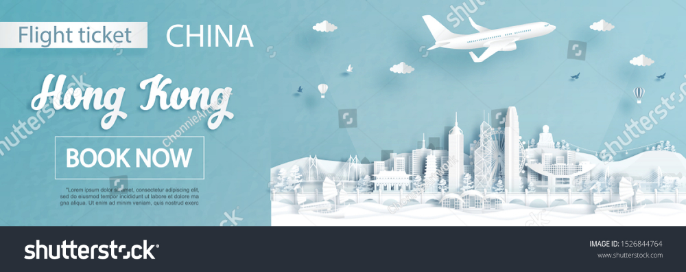 Flight Ticket Advertising Template Travel Hong เวกเตอร สต อก ปลอดค า ล ขส ทธ 1526844764 ภาพประกอบ