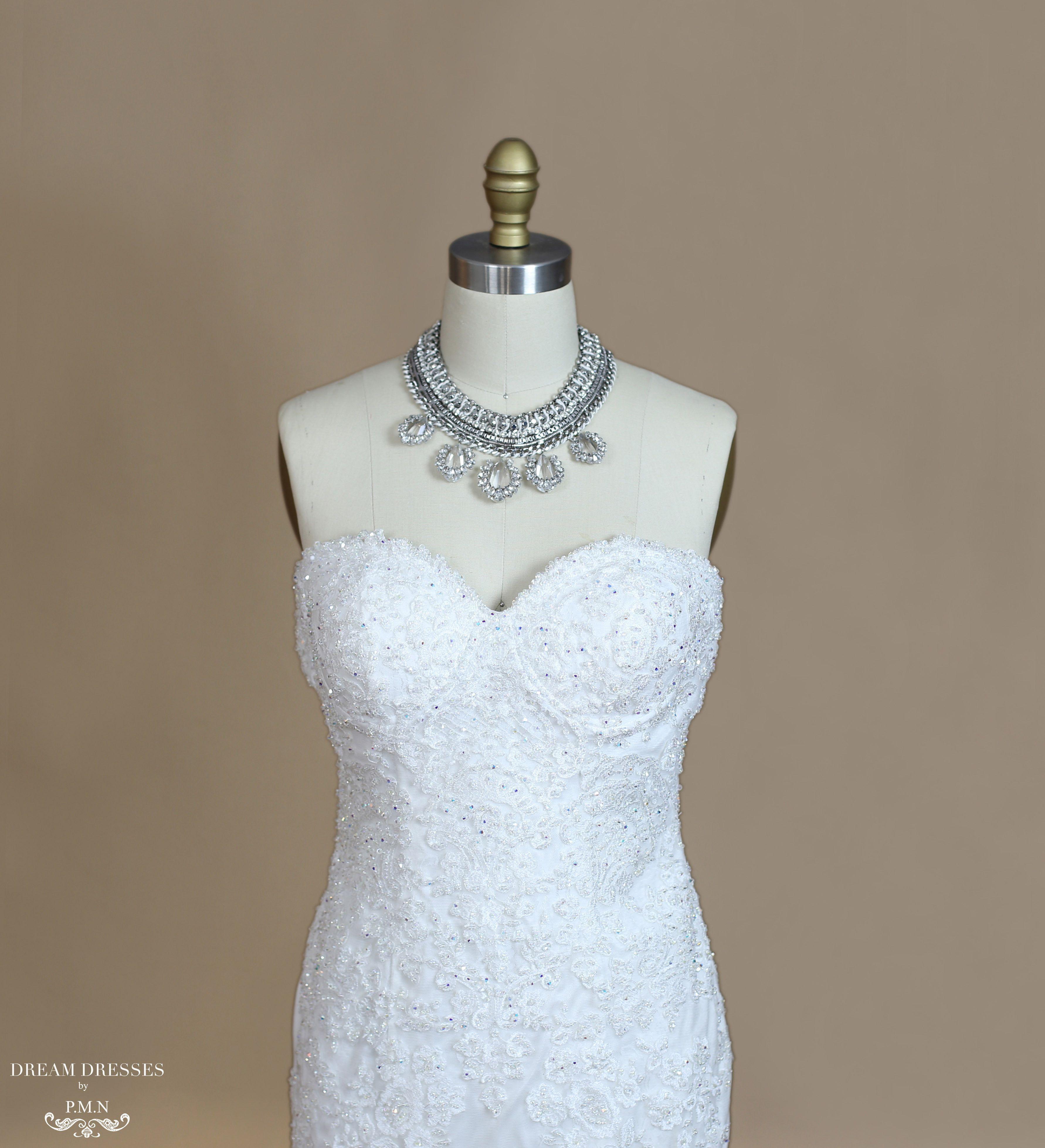Lace mermaid wedding dress with cathedral train  Lace Mermaid Wedding Dress With Cathedral Train Karoline