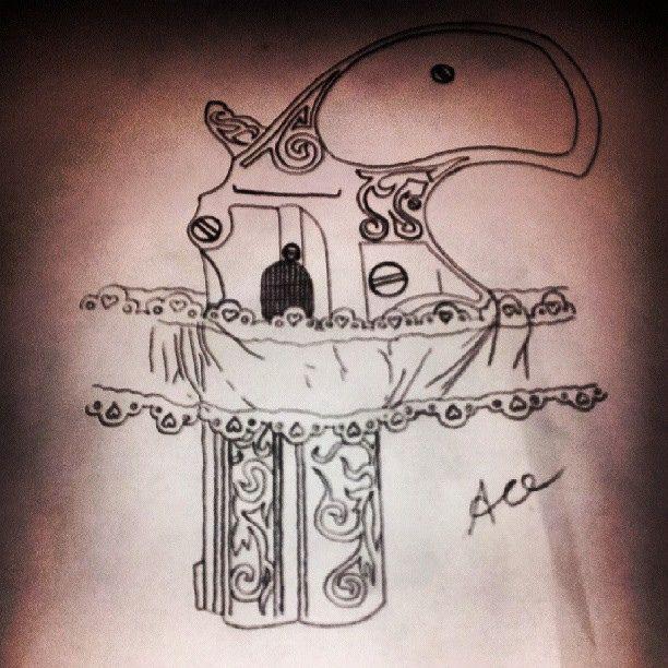 Custom Garter Pistol Tattoo Design Outline Sketch Acetruefreak Tattooartist Tattoomodel Rmtm Drawing Freehand Garter Tattoo Lace Drawing Lace Garter Tattoos