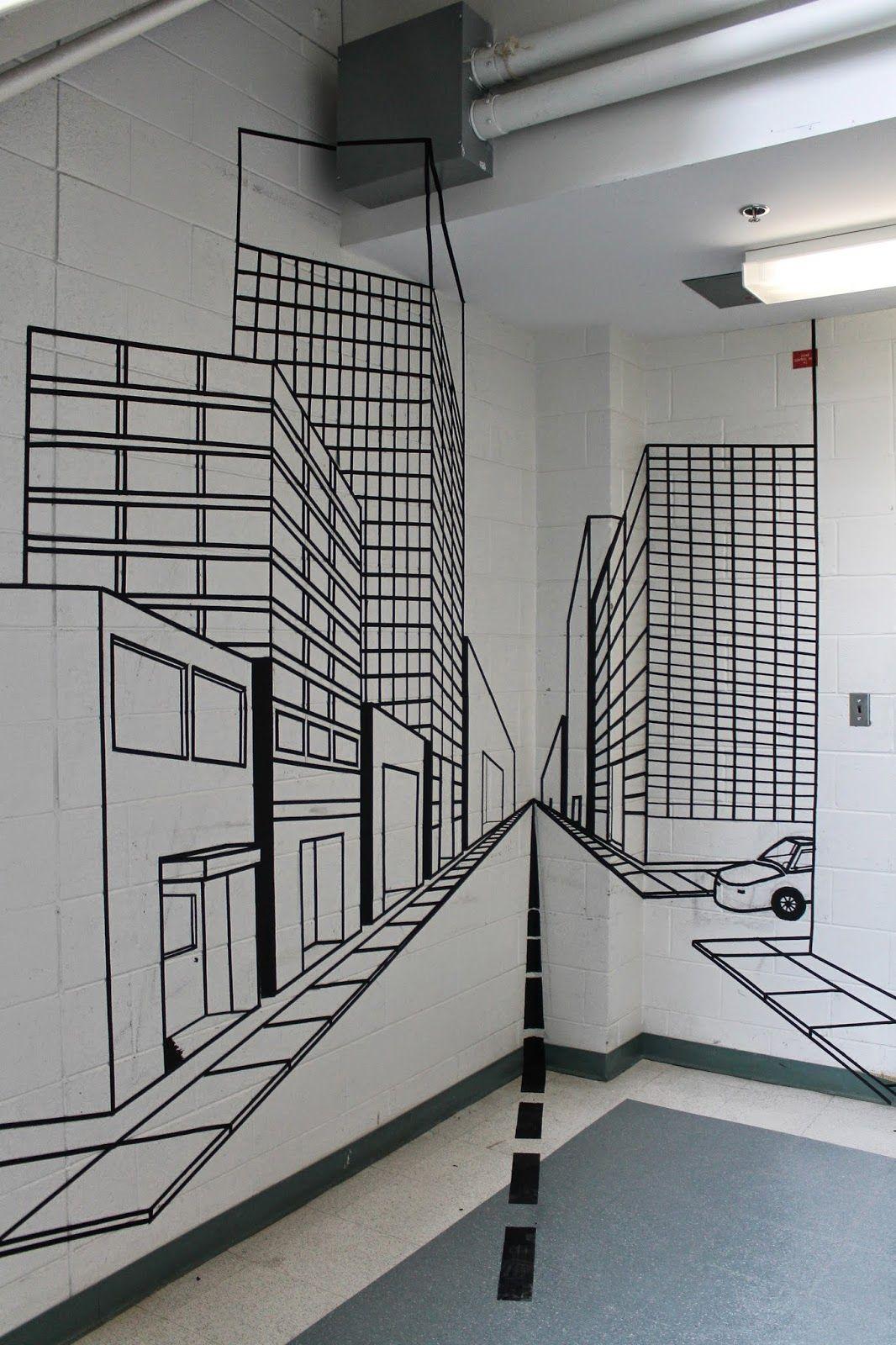 April S 2d Art Blog 2d One Point Perspective Tape Project Tape Art Perspective Art Tape Wall Art