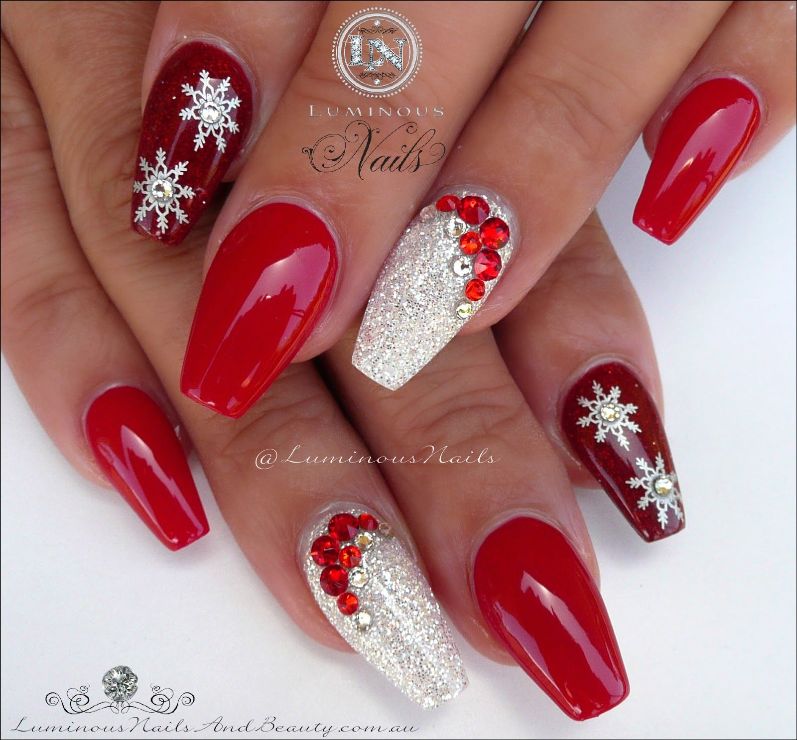 Christmas Nails With Glitter: Red & White Christmas Nails... Acrylic & Gel Nails