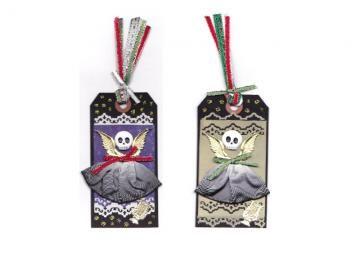 Creepmas Ornament Tags, Skelly Angels and Santa Skulls, Set of 4, Gothic Decor, Mixed Media Christmas Folk Art, Alternative Christmas Decor by twistedpixelstudio for $12.00  #MentionMonday #ssps