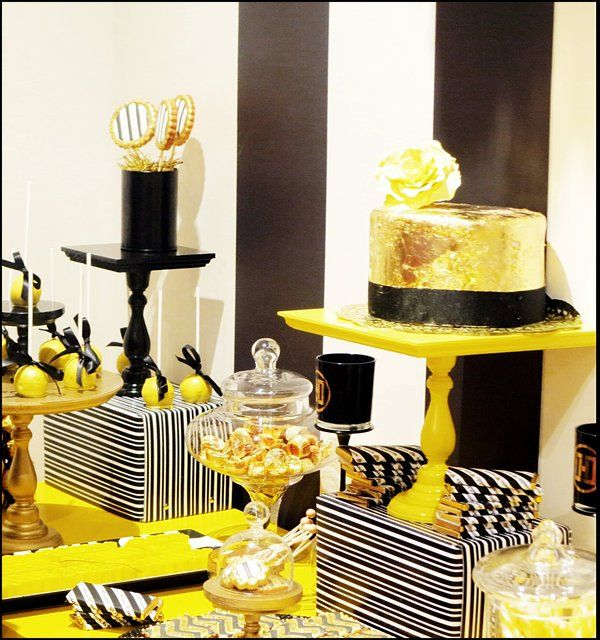 Black Yellow And White With A Touch Of Gold Bridal Wedding Shower