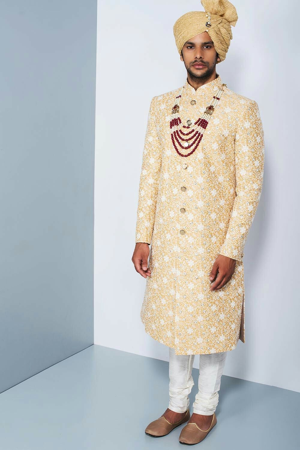 OSHNAAR - yellow threadwork sherwani #flyrobe #groom #groomwear ...