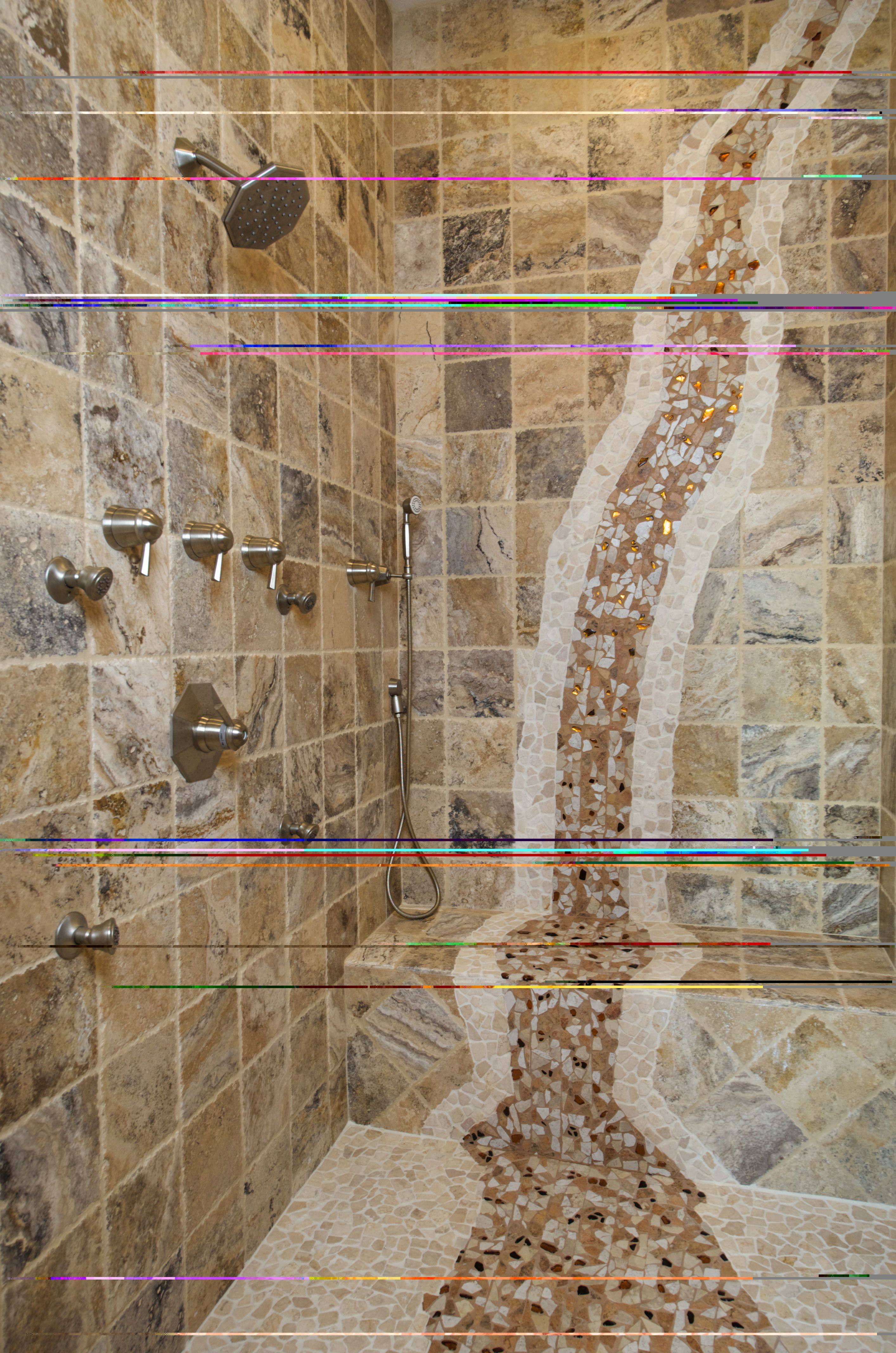 Waterfall In Shower Elegant Accents Tile Design Shower Tile Designs Shower Tile Tile Design
