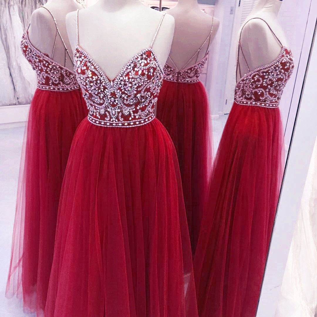 Fully crystal beaded top v neck long prom dresses tulle evening