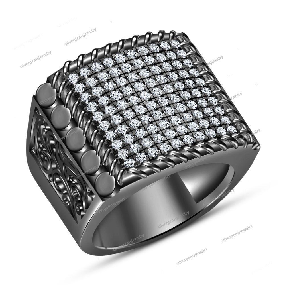 14k Black Gold Cool Band Ring 1.50CT Men's Wedding Band & Black Diamond Ring #MensWeddingRing