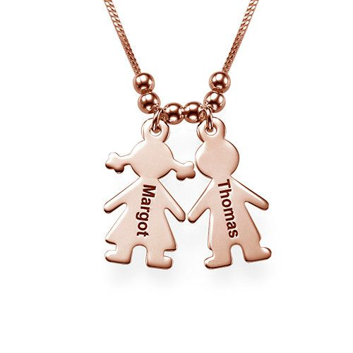 7aaccc61203e2 Mother's Necklace with Engraved Children Charms - Rose Gold Plated ...