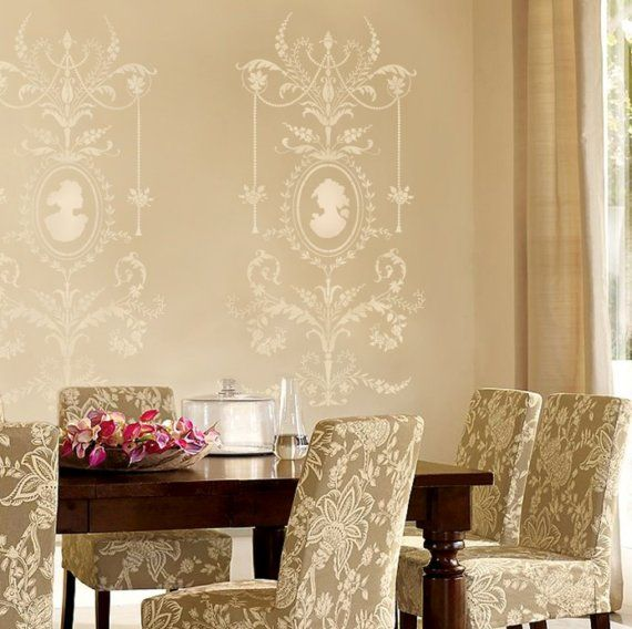 Wall stencil Marie-Antoinette Grand Panel LG - amazing detail ...