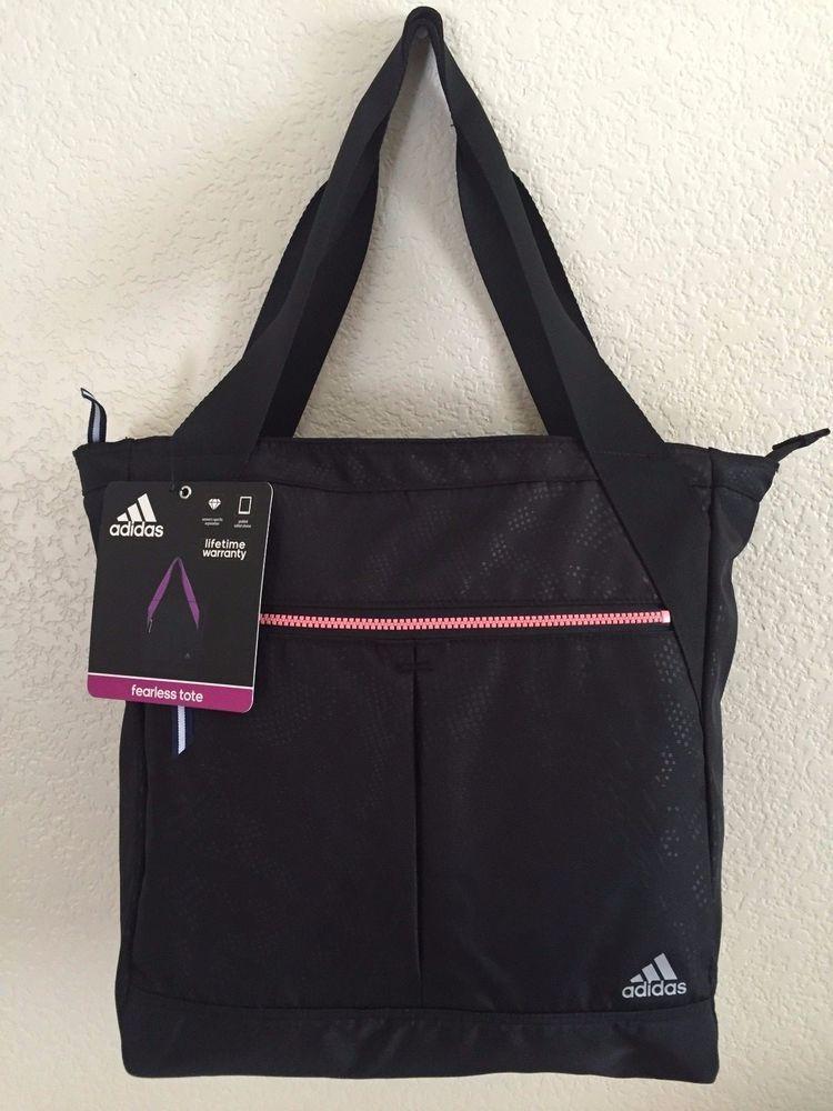 ADIDAS Fearless Tote Gym bag Women Black Padded tablet sleeve Green  interior.  Adidas 89502fcc8a7f4