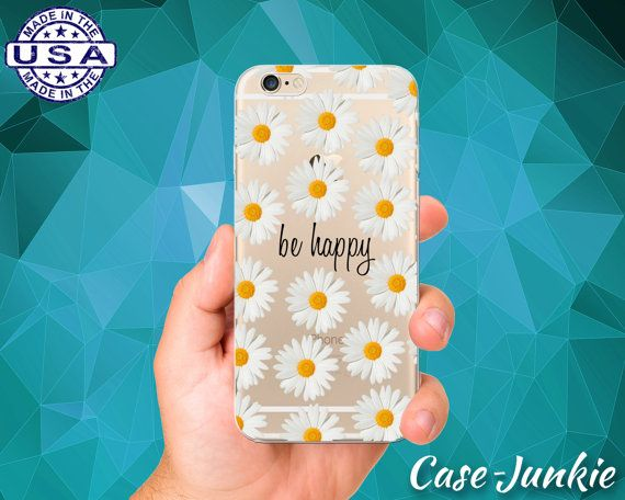 Daisy Flower Pattern With Be Happy Quote Cute Tumblr Inspired Clear Transparent Rubber Case For iPhone 5/5s, iPhone 5C, iPhone 6, iPhone 6 +
