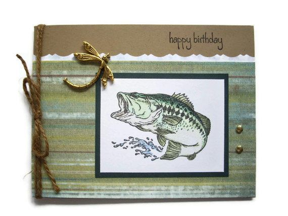 Lots of Bass stuff @ our house :)  handmade bass birthday card fishing masculine by JDooreCreations, $3.95