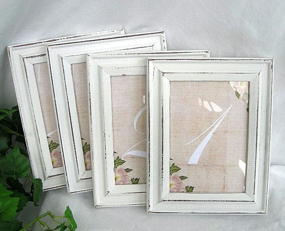 Wood Frame Wedding Table Number Cards Distressed Vintage Rustic White Shabby Chic Reusable 5 X