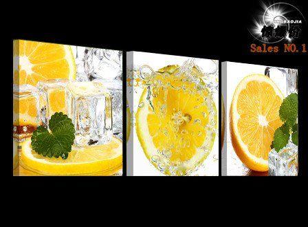 Lemon Splash 3 Panel Kitchen Wall Art | Modern canvas art, Wall ...