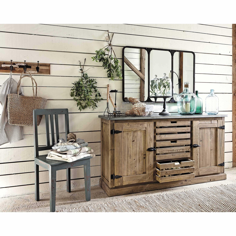 miroir indus en m tal noir 106x72 maison du monde. Black Bedroom Furniture Sets. Home Design Ideas