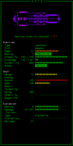 Cogmind Weapon Neutron Missile Launcher (in game) | Textmode