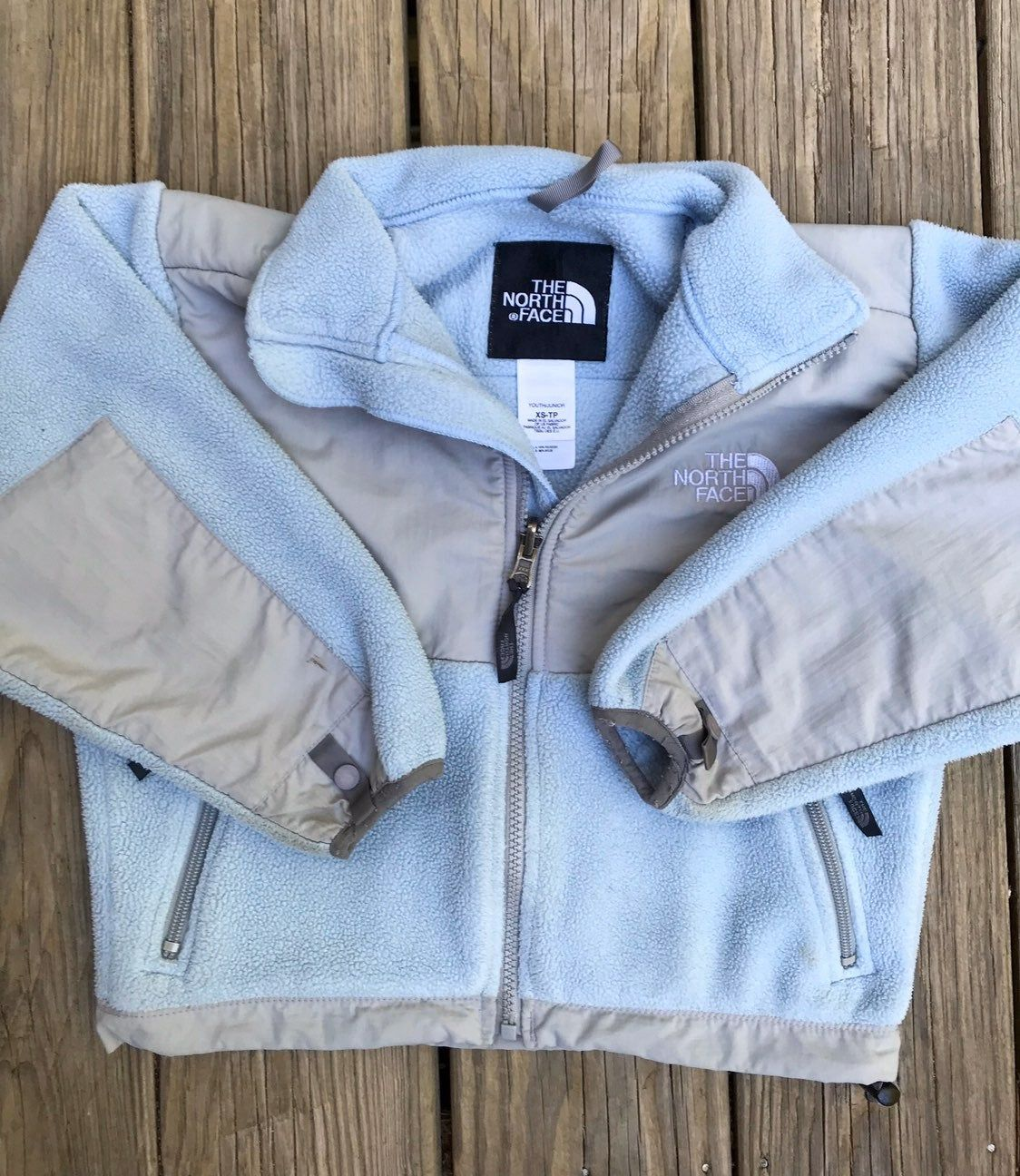 Thick North Face Fleece Jacket In Light Blue And Light Gray Has Some Wash Wear And A Few Spots On The Sl North Face Fleece Jacket Fleece Jacket The North Face [ 1296 x 1124 Pixel ]
