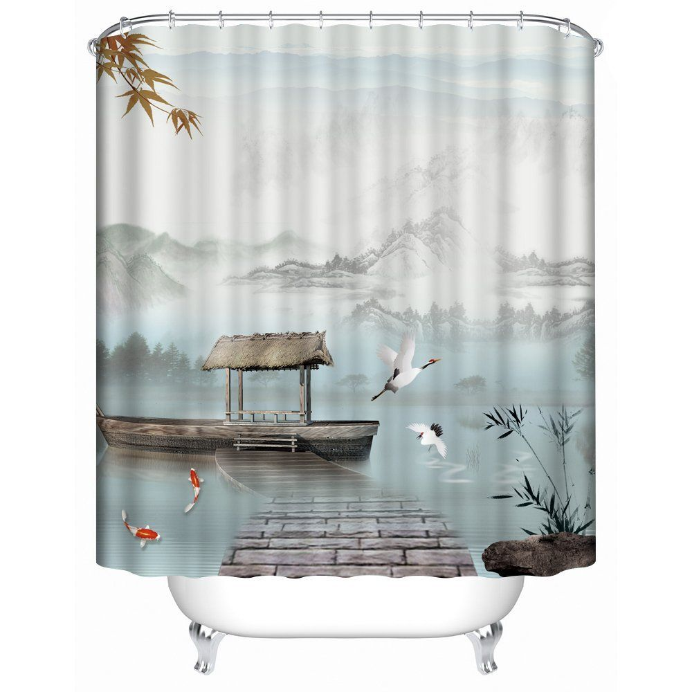 Amazon Com Panoramic Print Fabric Shower Curtain With Boats