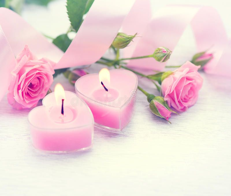 Valentine S Day Pink Heart Shaped Candles And Roses Valentine S