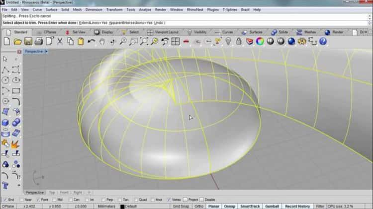Modeling a scroll with Rhino | V-ray material tutorial