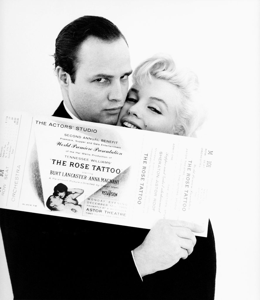 Marlon Brando with Marilyn Monroe for the Actor's Studio Rose Tattoo Benefit, photo by Milton Greene, 1955