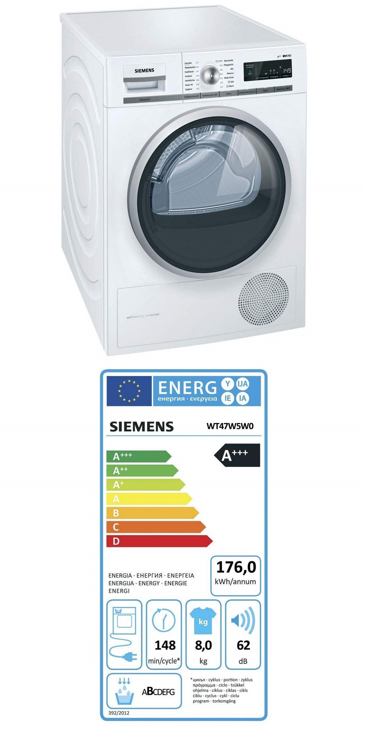 Siemens WT47W5W0 iQ700 Wärmepumpentrockner / A+++ / 8