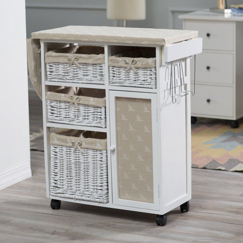 Deluxe Wood Wicker Ironing Board Center With Baskets From Hayneedle