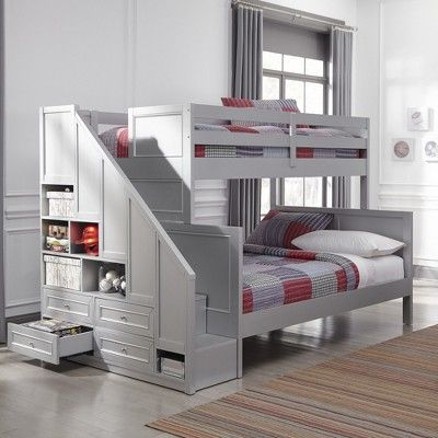 Venice Twin over Full Bunk Bed with Steps & Lower Storage Drawers Silver/Gray - Home Styles images
