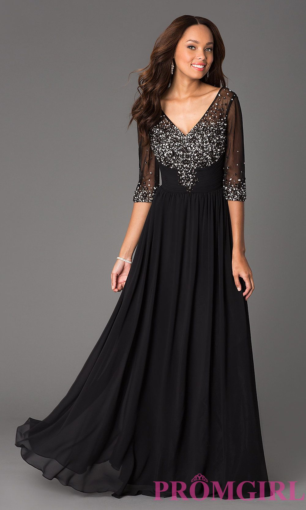 Floor-Length V-Neck Dress with Sheer Sleeves | Long prom dresses ...