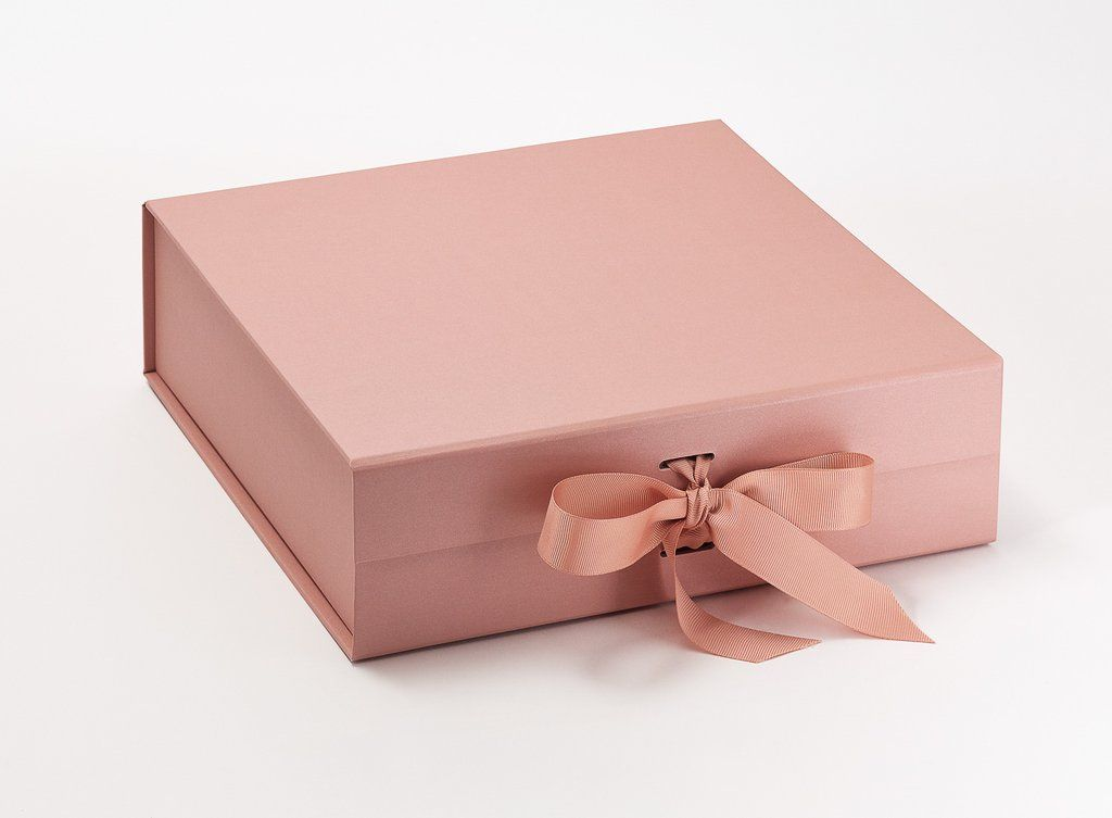 Rose Gold Large Gift Boxes With Changeable Ribbon Dėzutės Large
