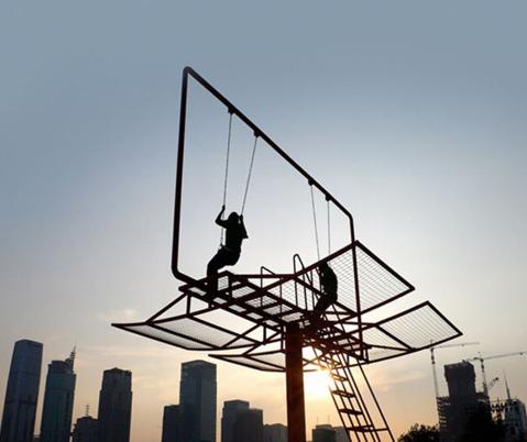 Urban Playground Double Happiness Swing Set Billboard
